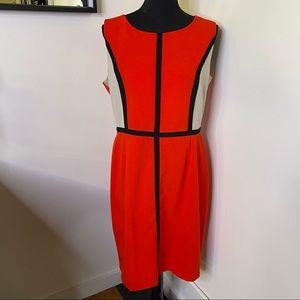 Calvin Klein Red/Tan Sleeveless Color Block